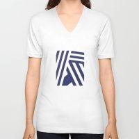 nautical V-neck T-shirts featuring Nautical Stripes by Charlene McCoy