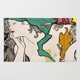 Vintage Alphonse Mucha Poster Girl Rug