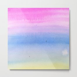 Hand painted pink blue yellow ombre watercolor paint Metal Print
