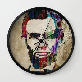 Abraham Lincoln Watercolor Modern Abstract GIANT PRINT ART Wall Clock