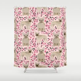 French Bulldog fawn coat cherry blossom florals dog pattern floral dog breeds Shower Curtain