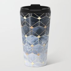Blue Hexagons And Diamonds Metal Travel Mug