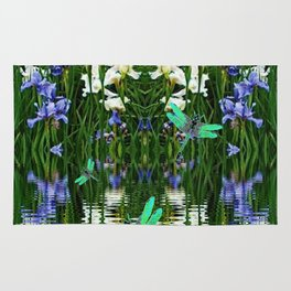 TURQUOISE DRAGONFLIES IRIS WATER REFLECTIONS Rug