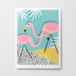 Bro - wacka design memphis throwback minimal retro hipster 1980s 80s neon pop art flamingo lawn Metal Print