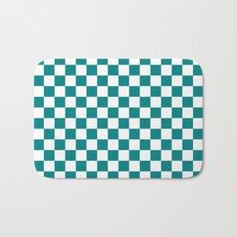 Small Checkered - White and Dark Cyan Bath Mat