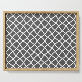Dark gray and white curved grid pattern Serving Tray