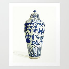 Blue Chinese Chinoiserie Pottery Vase 5 by Adam Asar Art Print