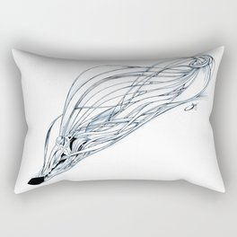 'Snowboarder in Ribbons of Snow II' Rectangular Pillow
