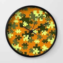 Puzzle green orange pattern Wall Clock