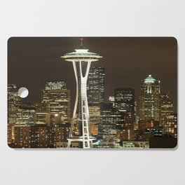 Seattle Space Needle at Night - City Lights Cutting Board