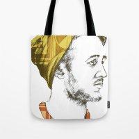 indie Tote Bags featuring Indie Boy by Anne Dippy