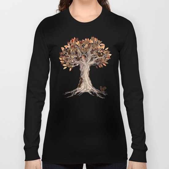 Little Visitors - Autumn tree illustration with squirrels Long Sleeve T-shirt