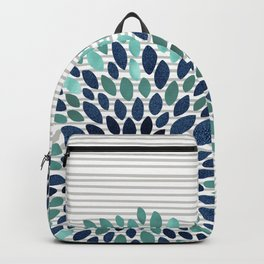 Blooms and Stripes, Aqua and Navy Backpack