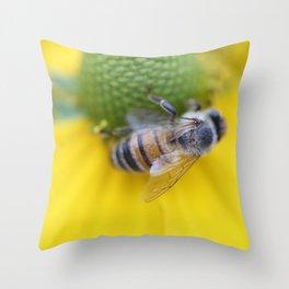Honeybee on Yellow Throw Pillow