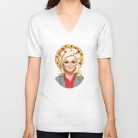 leslie knope V-neck T-shirts featuring Leslie Knope, Goddess of Girl Power & Waffles by Kirsten Sevig