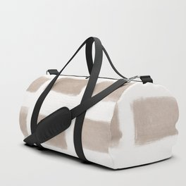 Brush Strokes Horizontal Lines Nude on Off White Duffle Bag