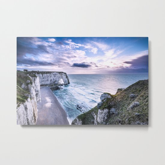Natural Rock Arch -  ocean, coastal cliffs, waves, clouds, Metal Print