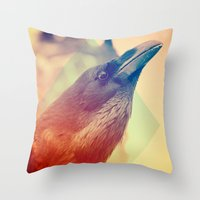 crow Throw Pillows featuring Crow by Victor Vercesi