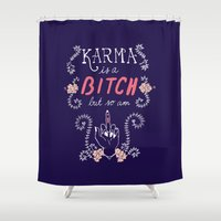 karma Shower Curtains featuring Karma by Brooke Greenberg