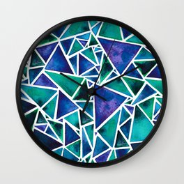 Geometric Turquoise and Blue Triangles Wall Clock
