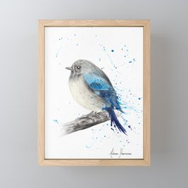 Round and Happy Bird Framed Mini Art Print
