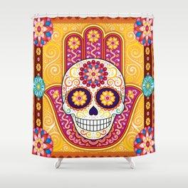 Sugar Skull Hamsa - Day of the Dead Hamsa Art by Thaneeya McArdle Shower Curtain