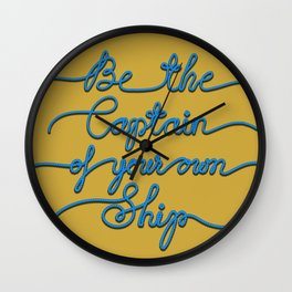 Be the Captain of your own Ship (Yellow and Blue) Wall Clock