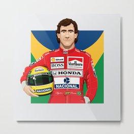 Ayrton Senna's Portrait Metal Print
