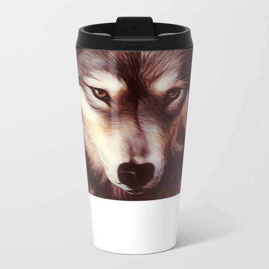 Wolf Vintage Metal Travel Mug