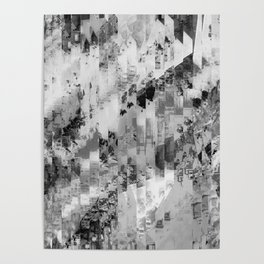 psychedelic geometric line pattern abstract background in black and white Poster