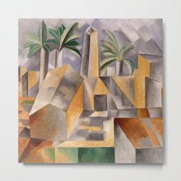 Tropical Oasis, Palms and cityscape landscape painting by Pablo Picasso Metal Print