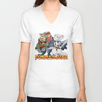 """warhammer V-neck T-shirts featuring Furhammer """"P'Orc and Dark Ferret"""" by the Artisan Rogue"""