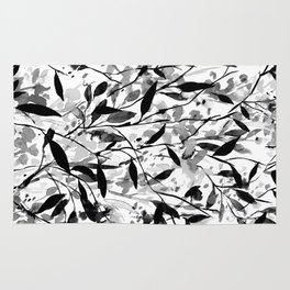 Wandering Wildflowers Black and White Rug