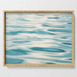Water Ripple Ocean Photography, Sea Ripples Aqua Blue, Turquoise Teal Beach Abstract Seascape Nature Serving Tray