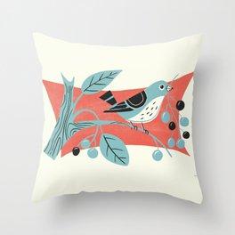 Blue Berry Bird Throw Pillow
