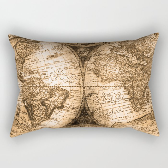 World map antique vintage maps rectangular pillow by naturemagick world map antique vintage maps rectangular pillow gumiabroncs Image collections