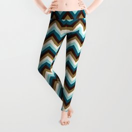 Funky Zigzag Pattern Teals Brown Gold Cream Leggings