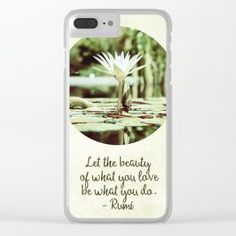 Zen Flower Water Lily With Inspirational Rumi Quote Clear iPhone Case