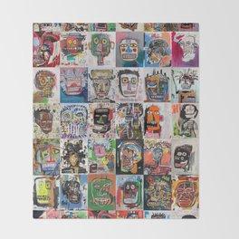 Basquiat Faces Montage Throw Blanket
