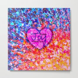 CHOOSE JOY Christian Art Abstract Painting Typography Happy Colorful Splash Heart Proverbs Scripture Metal Print