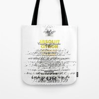 vodka Tote Bags featuring Graphic Vodka  by MarianaLage