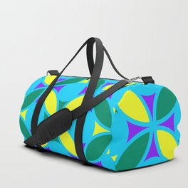 Geometric Floral Circles Vibrant Color Challenge In Bold Purple Yellow Green & Turquoise Blue Duffle Bag