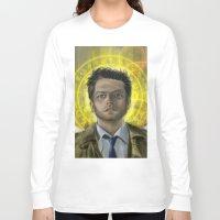 castiel Long Sleeve T-shirts featuring Castiel by Paulo Fodra