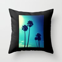 palm trees Throw Pillows featuring Palm Trees by Derek Fleener