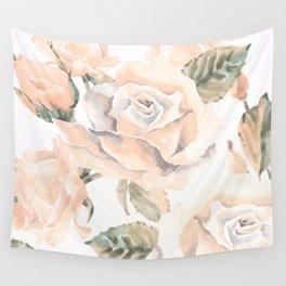 Pastel Peach Rose Garden Wall Tapestry