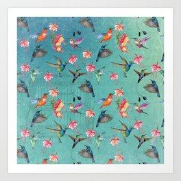 Vintage Watercolor hummingbirds and fuchsia flowers Art Print