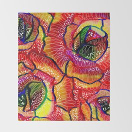 Flamboyant Colorful Roses Flowers Abstract Illustration Throw Blanket