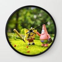 patrick Wall Clocks featuring Spongebob & Patrick by m4Calliope