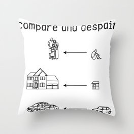 compare and despair Throw Pillow