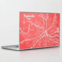 nashville Laptop & iPad Skins featuring Vintage Nashville Pink by Upperleft Studios